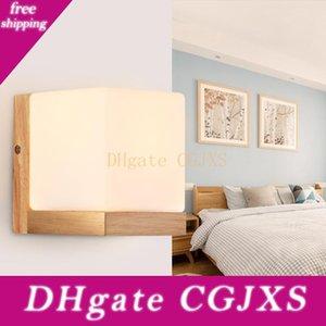 Современный Минималистский спальня ночники Aisle древесины привело лампа Personality Китайский Гостиная Corridor Hotel Study Креатив Wall Лампы
