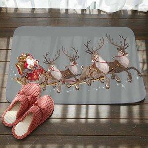 Christmas Santa Claus Anti-slip Floor Mat Flannel Carpet Rug Durable Xmas Home Decor Snowman Elk Christmas Tree Printing Doormat