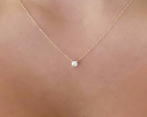Heißer verkauf gold diamant halskette zart solitaire anhänger zierlich diamant halskette braut schmuck schwimmend diamant cne schnelles verschiffen