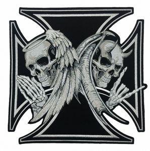 NEW ARRIVAL LARGE SIZE CROSS DEATH DEVIL SKULL PATCH 천사 SKULL 오토바이 BIKER 수 놓은 BACK PATCH IRON ON SEW 무료 배송 Zm9H 번호