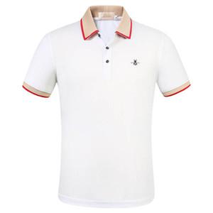 Mode de luxe Classic Men's Lettre Bee Broderie Chemise Chemise Coton Mens Designer T-shirt Blanc Black Designer Polo Chemise Mâle M-3XL
