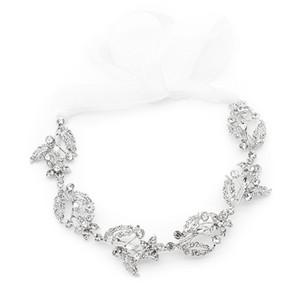 Luxury Hair Jewelry Pearl Crystal Leaf Bride Tiaras Wedding Hair Accessories Silver Headbands Gift