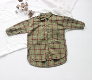FM INS Korean Japan Kids Girls Boys Plaid Shirts Long Size Organic Linen Cotton Quality Autumn Little Princess Children Tops