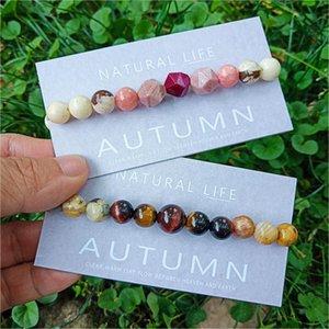 Neovivi Wish Paper Card Natural Stone Beaded Bracelets Fashion Women Jewelry Chakra Bracelet with Irregular Bead Tiger Eye Stone