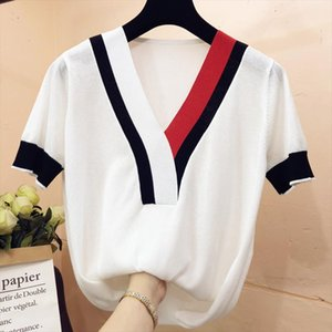 Patchwork V neck Ice silk knitted short sleeve sweater women Korean loose Pullover all match tops 2020 black white
