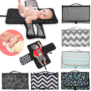 Portable Foldable Nappy Change Mat Waterproof TPE Diaper Baby Changing Kit for Home Travel Outside storage bag Baby Floor Mat