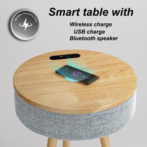Nordic bedside table with wireless charge simple small bedroom table with charging round table with wireless charging
