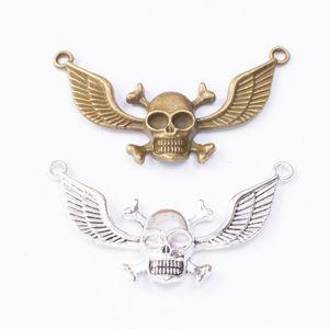 20pcs 32 * 56MM antike Bronzeweinlese-Silber-Schädel Feder Flügel Anhänger Metall-Anhänger Halskette diy Schmuck Ohrring