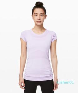 LU-57 Yeni Yaz Yoga Katı Kadınlar Tops Hızla Tech Kısa Kollu Mürettebat Tişört Gömlek L01 Running Salonu Giyim Fitness Egzersiz Spor Koşu