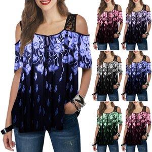 2020 인쇄 짧은 소매 느슨한 코트 T 셔츠 최고 2020 여성의 레이스 WO 프린트 반소매 느슨한 코트 실크 스크린 레이스 실크 스크린 T 셔츠