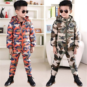 BINIDUCKLING Winter Suit For Boys Down Jacket Clothes Set Camouflage Hooded Thicken Warm Parkas+Pants Set for Kids Children