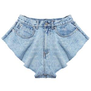 La felicidad Ciruela 2020 nuevo de la manera atractiva del verano otoño con cordones mediados de cintura bolsillos de cremallera floja mini pantalones cortos de mezclilla mujeres