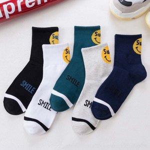 marca de moda de otoño e invierno Deportes de algodón de los hombres 1ahj8 de los hombres calcetines calcetines de verano Smiley Street tubulares centrales