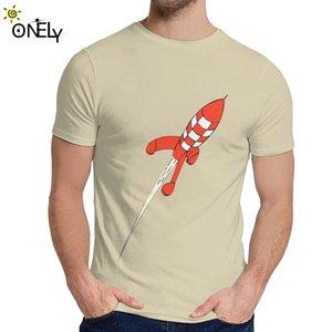 Cotton Tintin Destination Moon Rocket Le Avventure Di Tintin T-shirt per l'uomo estate morbido cotone del O-Collo Camiseta