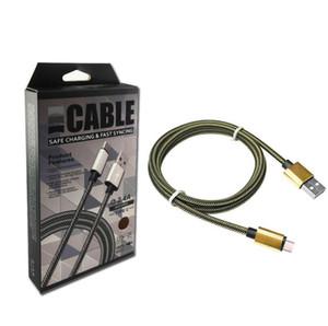عالية الجودة نوع C كابل نايلون شبكة مزين مايكرو USB شحن سريع الكابلات كابل 1M عن الهاتف الذكي الروبوت الهاتف مع مربع للبيع بالتجزئة