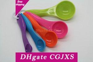 5pcs / Set de plástico Medida de cucharas de medición colorido cucharas de azúcar Pastel horneado cuchara de la cocina Herramientas