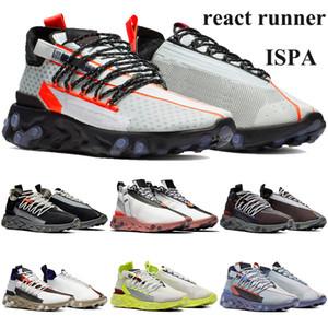 Nova chegada reagir ISPA corredor Running Shoes Mid WR White Light carmesim Homens Mulheres Trainers fantasmas sneakers cinza do Aqua baixos black wolf