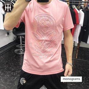 a maniche corte da uomo aliene lucido alla moda paillettes doppio maschile mercerizzato abiti di cotone T-shirt gli uomini della European Silk Ice