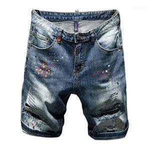 Slim Fit Micro Casual Elastic Cotton Black Wash Ripped Jeans Male Clothes Men Hole Denim Break Patch Shorts Jeans Fashion