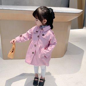 DFXD Kızlar WINDBREAKER Ceketler Moda İlkbahar Sonbahar Pamuk Tek göğsü Katı Trençkot Çocuk Giyim 1-7Yrs Kıyafet