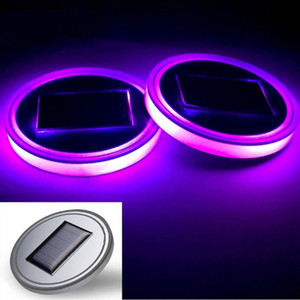 Solar LED Car Anti-skid Pad Waterproof Bottle Drink Built-in Light And Vibration Sensor Car Interior Decoration
