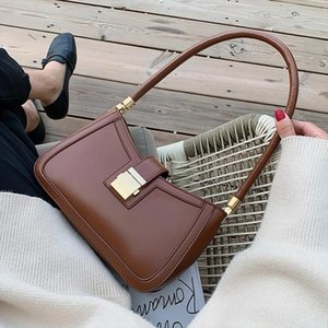Solid Color PU Leather Shoulder Bags For Women 2020 Lock Handbags Small Travel Hand Bag Lady Fashion Bags
