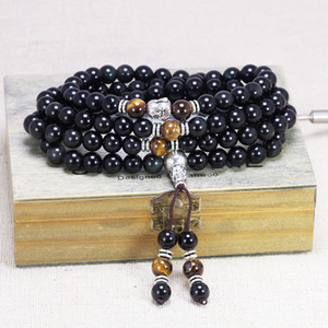 Rainbow Obsidian Bracelet Buddha Jewelry 108 Beads With Natural Tiger Eyes Stone Amulet Charm Bracelets For Men And Women