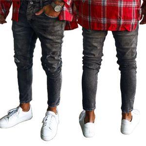Vita matita High Street Low Pants Man Fashion Casual Pantaloni Uomo Nero Slim Hole Jeans Uomo