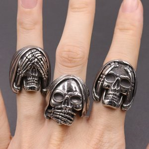 2020 newest emijo face mood skull rings for boys girls 316 stainless steel rock roll antique men rings cool design