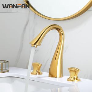 WANFAN Goldene Poliert Badezimmer-Bassin-Hahn-Wannen-Mischer-Hahn-Doppelhandgriff heißes und kaltes Wasser-Hahn-Deck montiert S79-376