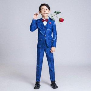 6PCS Boys Suits For Wedding Party Blazer Jacket Blazer Vest Pants British Style Feather Pattern Costume Mariage Kids Suits QZWH#