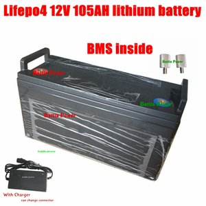 Lifepo4 12V 105AH lithium battery 100A BMS 12.8V for inverter Solar Energy System car starting MPPT RV +10A Charger