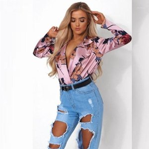 Shirts Vintage Printed Floral New Spring Fashion Luxury Designer Blouses Women Fashion Casual Tops Deep V-Neck Women