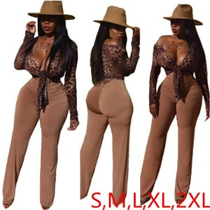 Best Selling Leopard Printing Women Long Sleeves 2PCS Pants Sets Autumn New Tie Coat with Long Pants Sexy Nightclub Casual Outfit A8242