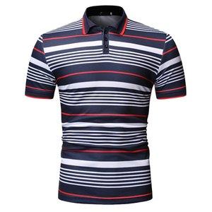 YASUGUOJI 2020 Nouveaux été Chemise à manches courtes hommes Casual rayé Hommes Chemises Contrast Mode couleur Shirt Men