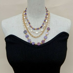 Cultured White Baroque Pearl Purple Charoite Chain Necklace 17""