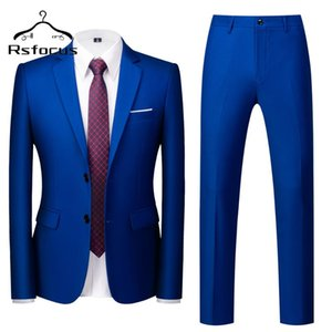 Rsfocus High Quality Men Suits For Wedding Royal Blue Mens Suits With Pants Casual Office Work Formal Business Suit Male TZ105