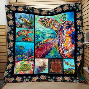 Summer Turtle Print ocean Quilt Kids School Adults Bed Soft Warm Thin Blanket Cotton Quilt King Size Wholesale Custom Pattern