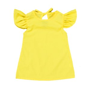 Clearance Excelent New Summer Mesh Infant Baby Girls Fly Sleeve Solid Bow Dress Clothes Dresses Z0205
