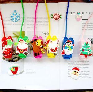 Maquillage cas Désinfectant pour les mains de Noël de gel de silicone Container nettoyant liquide avec la bouteille vide Santa Clause Bouteille Clause Cadeaux de Noël GWE2071