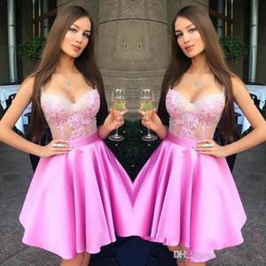 2020 Hot Pink Sweetheart Neck Mini Short Homecoming Dresses Lace Zipper Back Sweet 16 Graduation Dresses Knee Length Party Cocktail Dresses