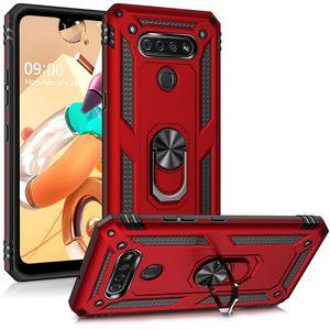 Anti-Tropfen-Standplatz-Halter-Rüstungs-Kasten für LG K51 K50S Q51 Stylo 6 5 K50 K40 Aristo 2 3 4 Q60 Finger-Ring-Vollschutz-Telefon-Abdeckung