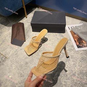 Bottega veneta sandals Лучшие площади Vintage Toe Stretch насосы Luxe Женщины Золото Сеть высоких каблуках 9,5 CoM Женщины Air Mesh дизайн Женская обувь Бесплатная доставка