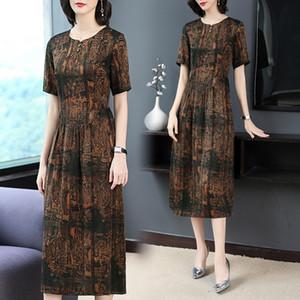 9SQqP Hangzhou Seide lange, Frühling, Sommer und neues duftende Wolke Garn lange Rockkleid Maulbeereseide Mode elegant 2020 Kleid