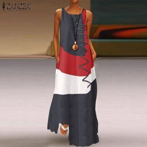 Womens Kleider Vintage Sommer Sommerkleid Sleeveless Farbe Pacelwork Maxi Kleid Casual Weibliche O Neck Panzer Vestidos Robe Femme
