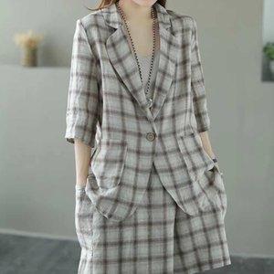verano nuevo estilo de Corea ropa suelta de JW6lJ mujeres ocasional impreso a cuadros desplazamientos carrera Suit 2020