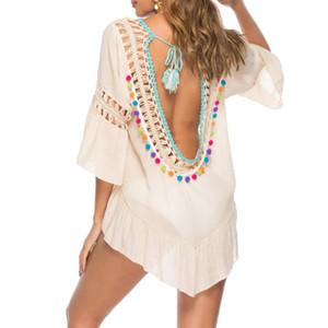 Sexy Frauen aushöhlen Strand-Vertuschung Crochet Bikini-Vertuschungen Quaste Vertuschung Badeanzug Badebekleidungs-Kleid-Badeanzug Vestido