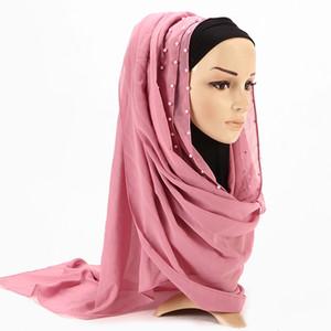 2020 Pink Ladies New Verão Vermelho da planície de pérola chiffon frisado Hijab Scarf Echarpe Mulheres Palestina Cabeça muçulmana Cabelo Cachecóis bufandas