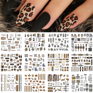 12pcs Leopard Sexy Animals Stickers for Nails Letter Designs Water Tattoo Foil Nail Art Decals Gel Polish Slider GLBN1573-1584-1