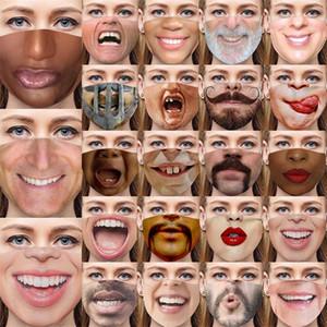 A prueba de polvo del paño de la mascarilla del respirador Moda anti Haze Mascarilla Polvo Prevención humano 3D facial Personalidad Expresión 4 5wse D2